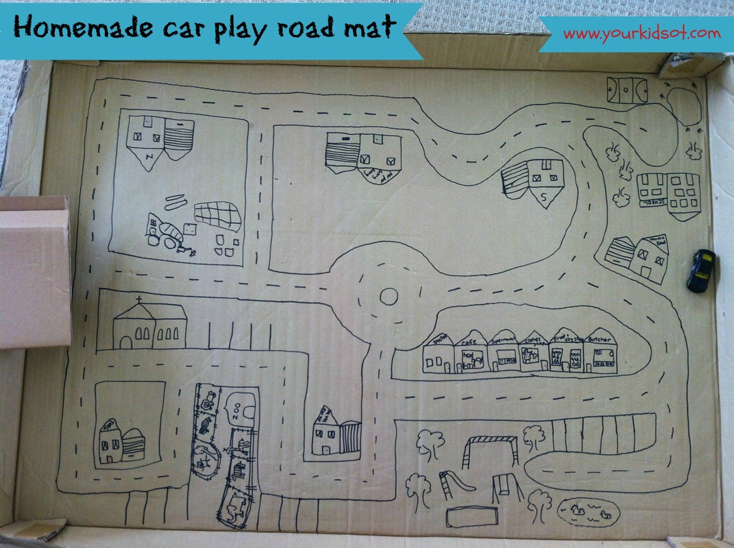 homemade car play road mat
