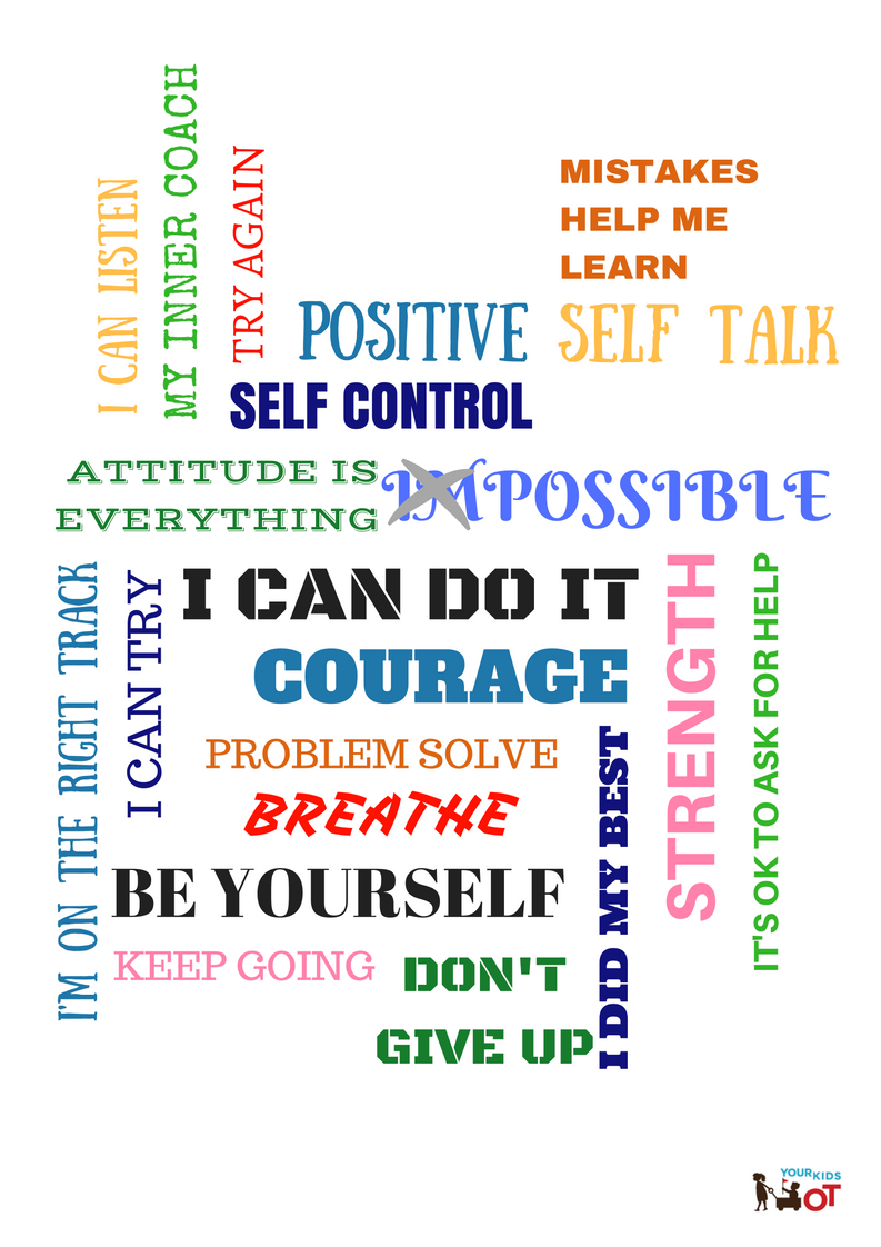 a4 poster  inner coach words for positive self talk