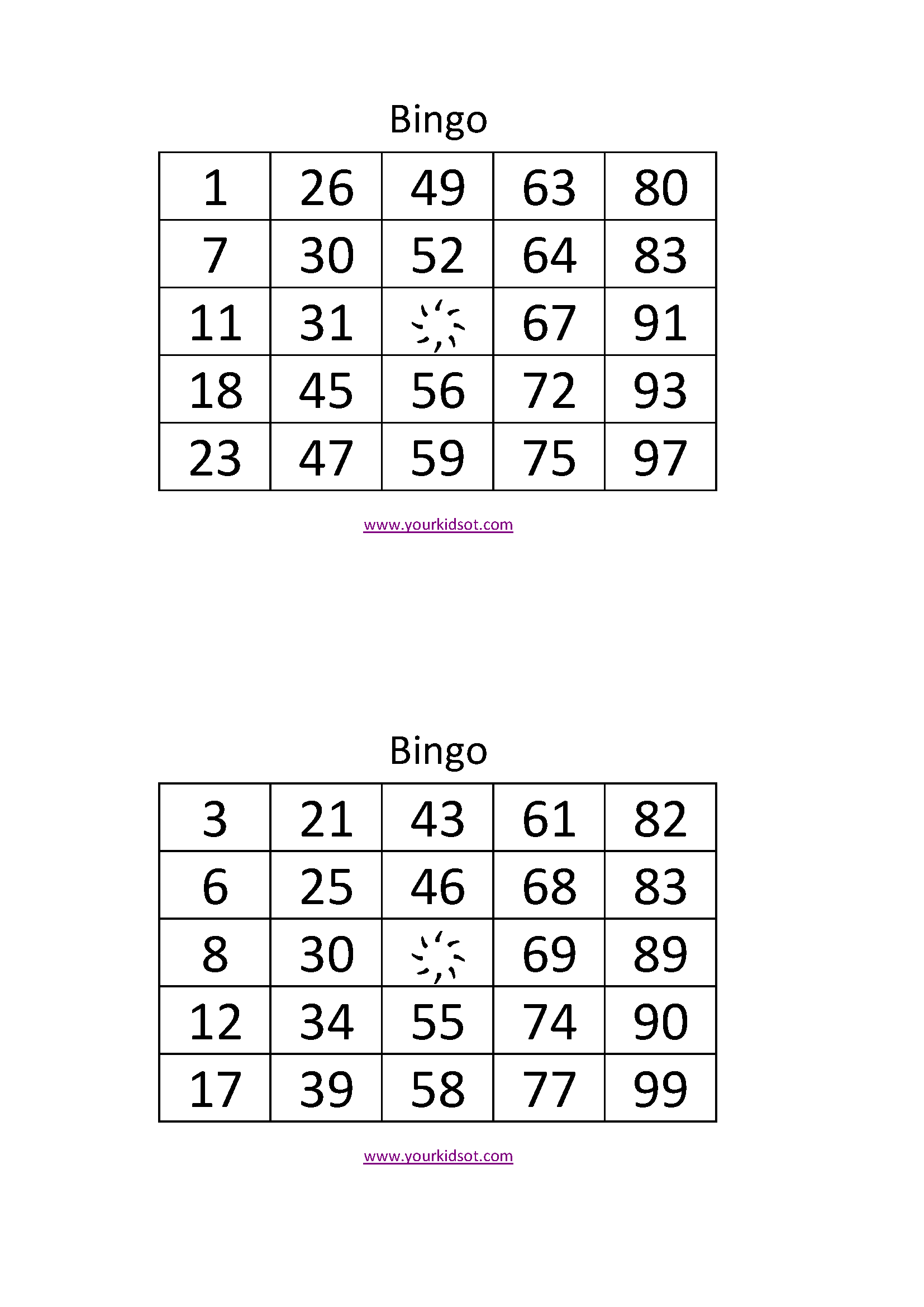 This is a graphic of Universal Bingo Calls Printable
