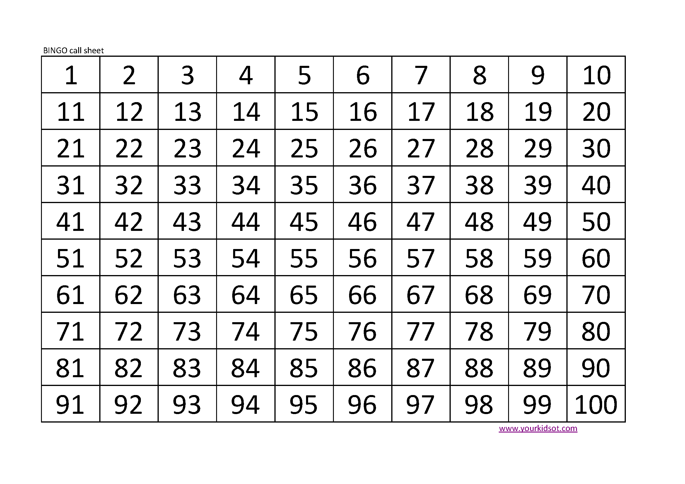 Soft image for bingo calls printable